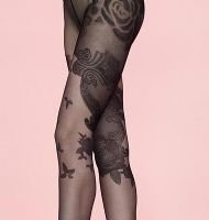 Fiore Muse Floral Tattoo Design Tights